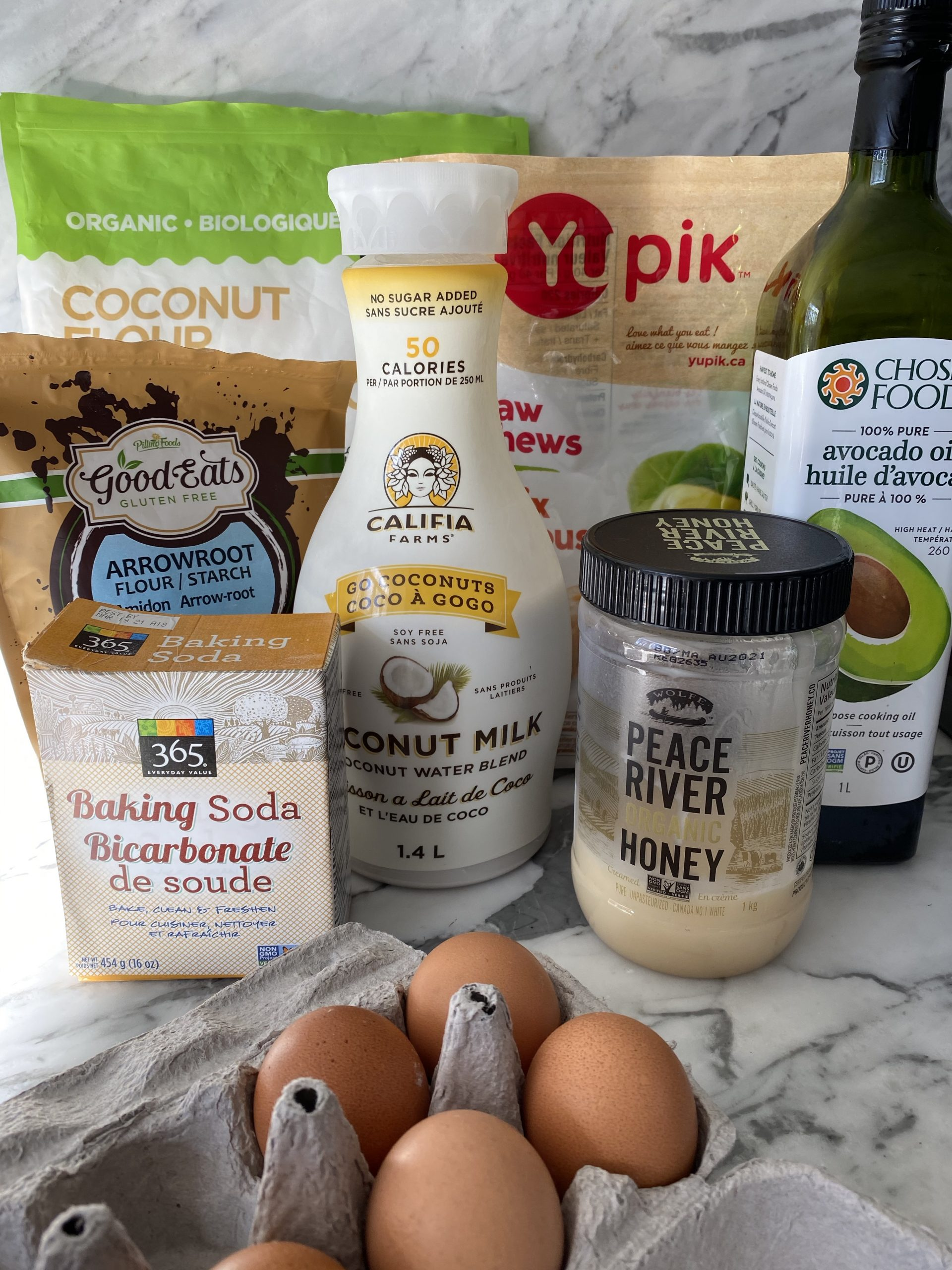 Ingredients to make the best healthy paleo waffles recipe